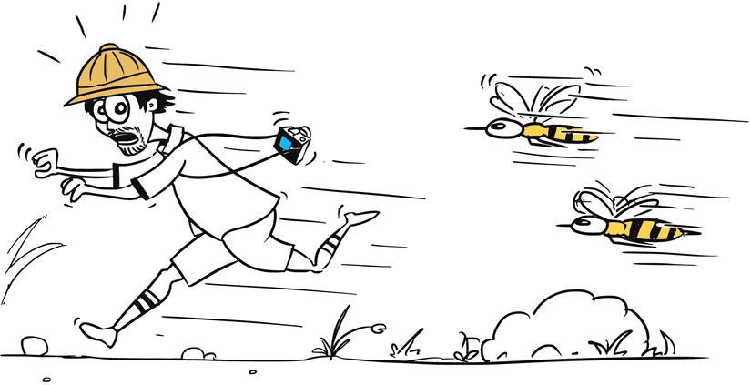 Illustration of a man running away from bees